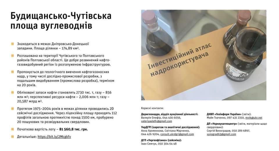 На аукціон виставили Будищансько-Чутівську нафтогазову ділянку