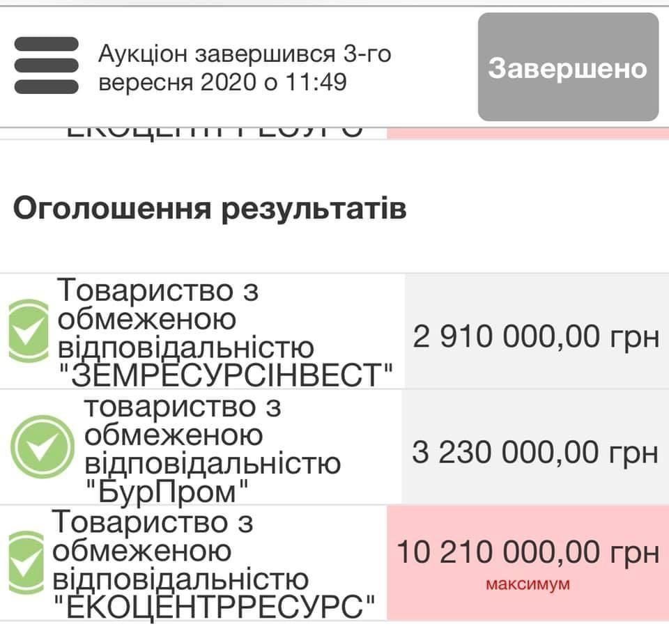 Бурштинову ділянку продали на повторному аукціоні за 10,2 млн грн